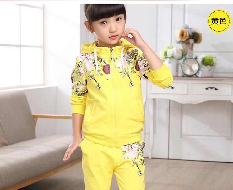 HOT 2017 new girl s fashion leisure two suits autumn outfit flower children of 2 to