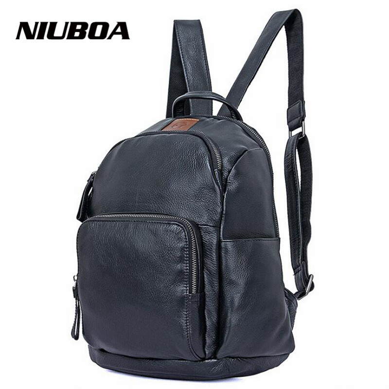 NIUBOA Genuine Leather Men Backpack Woman or Man Multi Travel Bags High Quality Trendy Business Bag For Leisure Pad Black Bag 100% genuine leather men backpack large capacity man travel bags high quality male business bag for man computer laptop bag