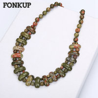 Fonkup Men Big Necklace Unakite Bead Chain Jewelry Women Short Ornaments Natural Gemstone Luminous Stone Engrave Steampunk Kolye