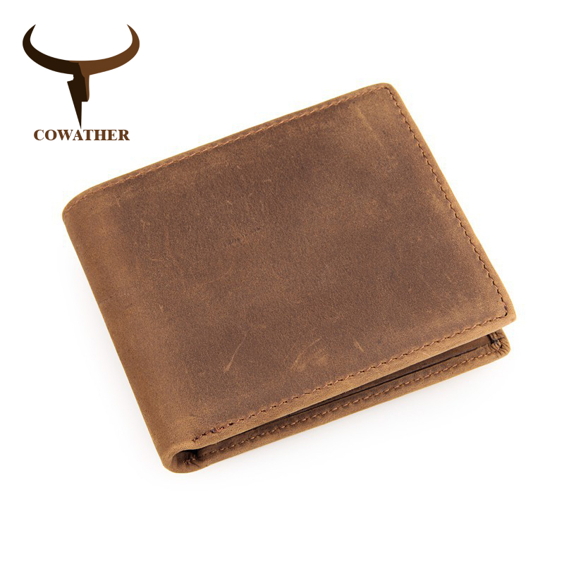 COWATHER Genuine Cow Leather Short Mens Wallet For Men Vintage Good Male Purse 4 Color Free Shipping