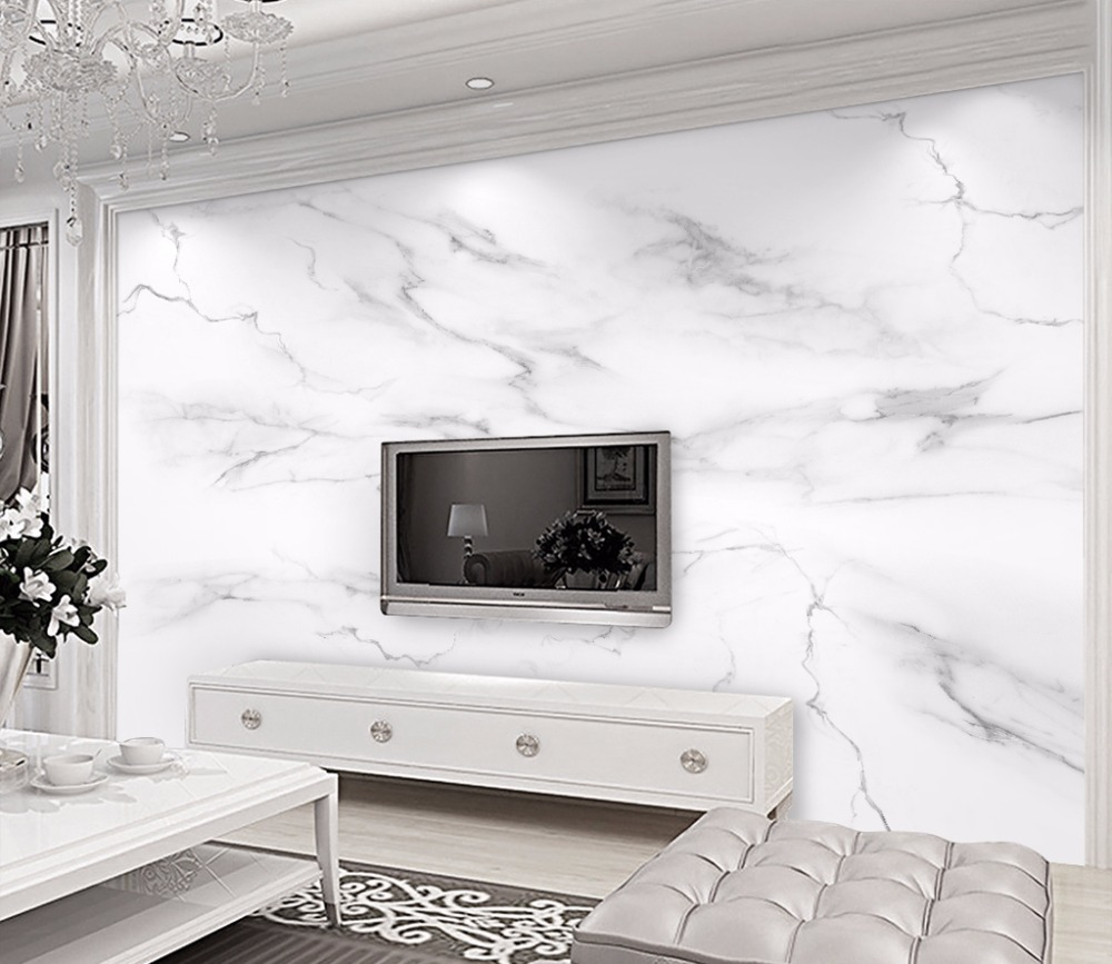 Us 38 5 Bacaz Custom Wall Mural Wallpaper Home Decor Marble Photo Paper For Living Room Bedroom In Wallpapers From