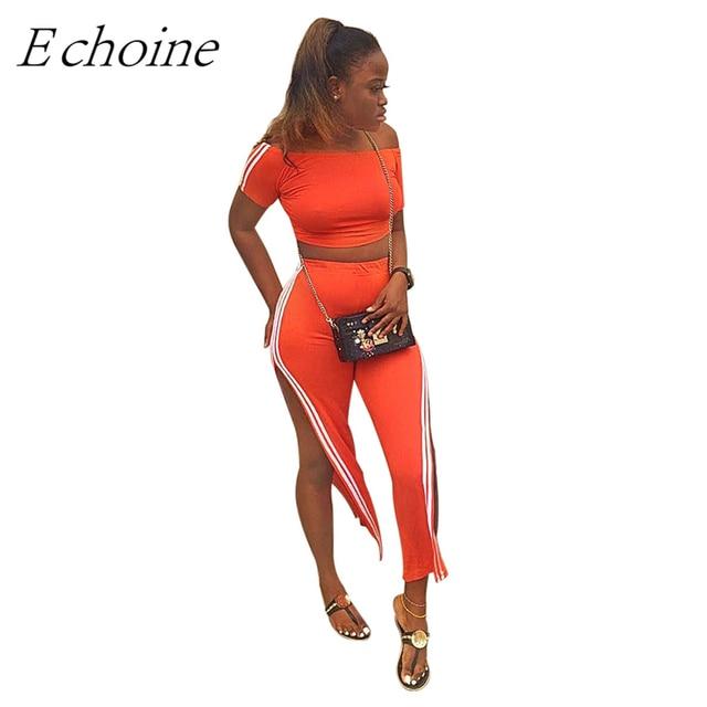 821eb01a14 Sexy Two Piece Set Outfit Women Side Stripe Orange Women Tracksuit Off  Shoulder Short Sleeve Crop Top Split Wide Leg Pants Suit
