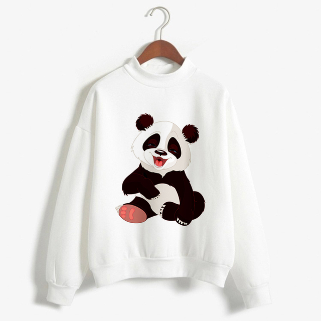 2018 Women Spring Autumn Sweater Fashion Long Sleeve O Neck Pullover Print Panda/Cat Sweater Top Irregular Loose Female Knitwear by Cdjlfh