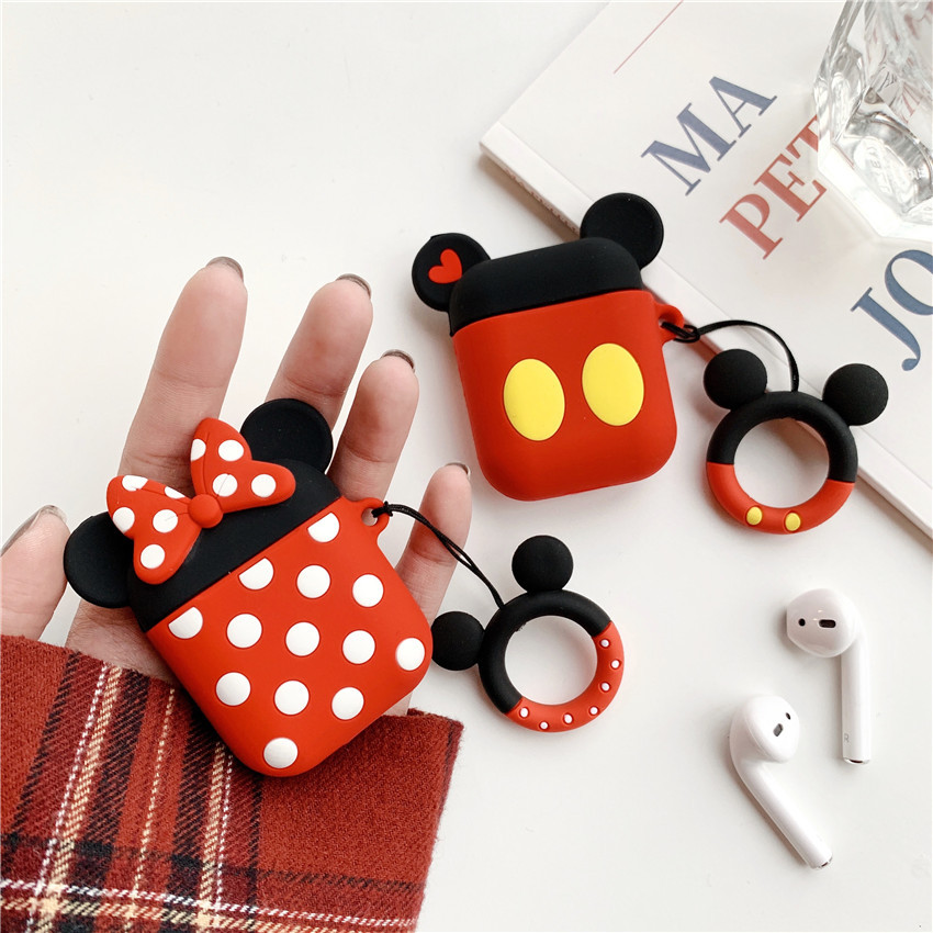 Cartoon Silicone Ring Charging Shatter resistant Bag For font b Airpods b font Protective Cover Apple