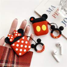 Cartoon Silicone Ring Charging Shatter-resistant Bag For Airpods Protective Cover Apple Bluetooth Headset Storage Box