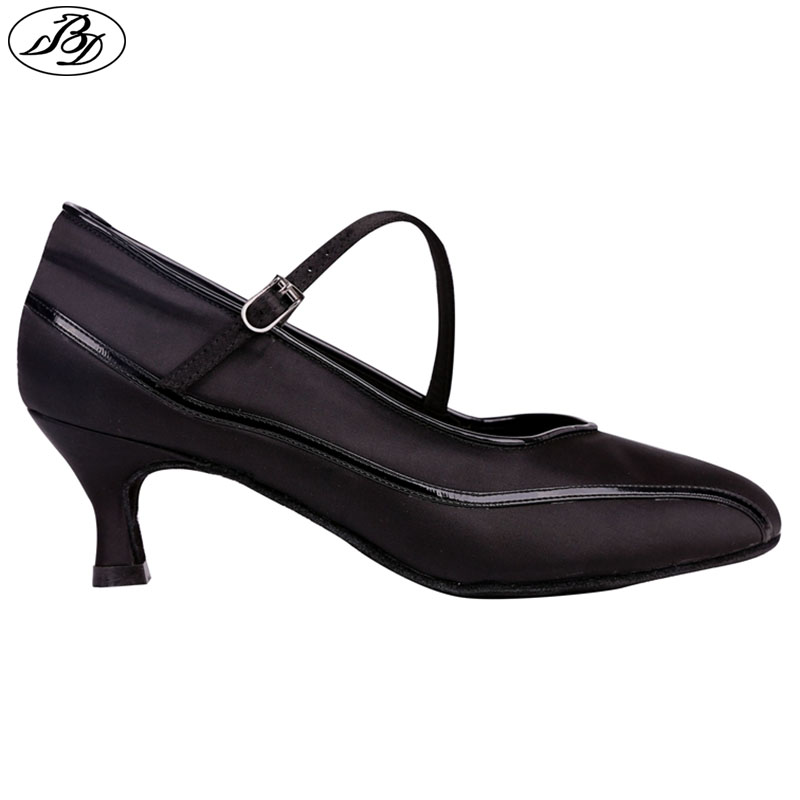 New Style Women Standard Dance Shoes BD1303 Black Satin Lady Ballroom Dance Shoes Soft Leather Outsole
