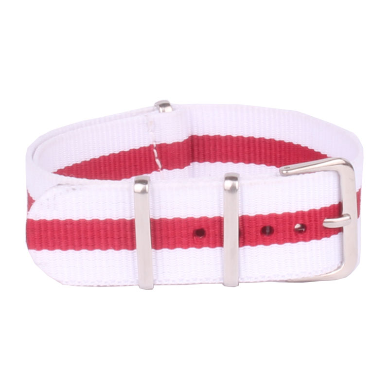 20 mm Stripe Cambo White/Red Nato Woven Fiber watchband 20mm Nylon Watch Bracelet Straps Wristwatch Band Buckle Cheap fabric survival nylon bracelet brown