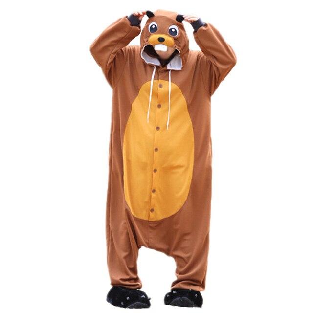 cae5d0fe78 Nuevos pijamas de animales de castor ropa de dormir pijamas de dibujos  animados Cosplay disfraz adulto