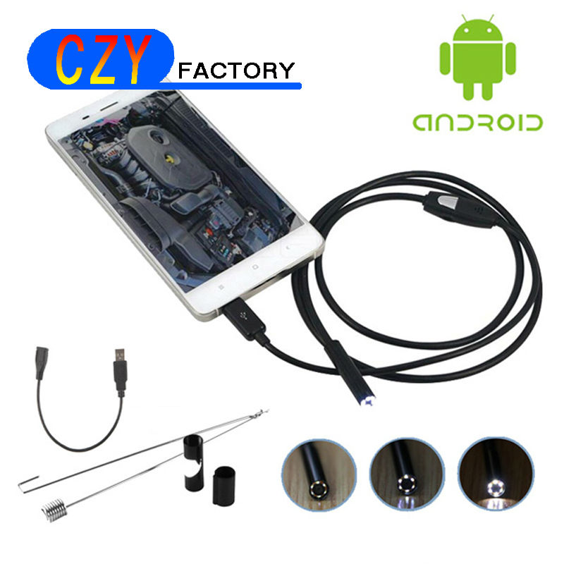 Android USB Endoscope Camera 7mm Dia Cmos 1M Cable Waterproof 6led Borescope Micro Endoscope Inspection Tube Visual steel Camera supereyes n015 7 digital borescope waterproof endoscope camera 7mm diameter with 7m tube 3 million pixels cmos led inspection