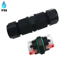 IP68 waterproof connector screw-free Outdoor cable three-core through