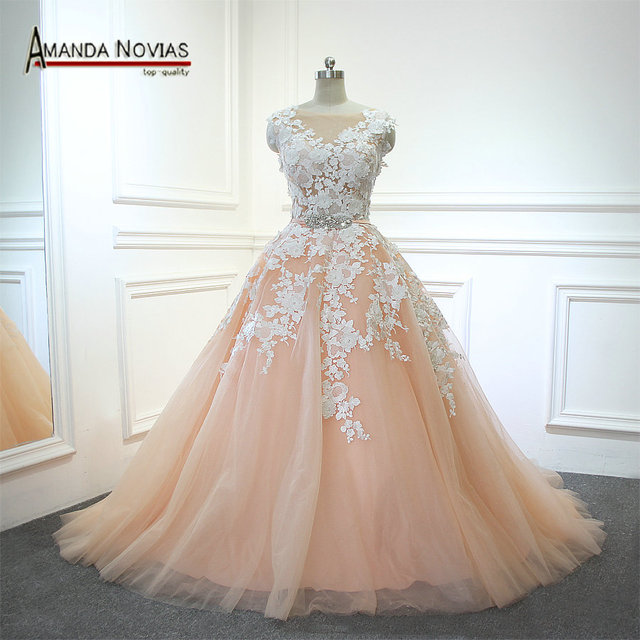 2017 New Pink With Ivory Color Wedding Dress Y Top Transpa