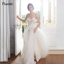Boho Wedding Dresses 2019 A-Line Sweetheart Beach Wedding Gown Floral Beaded Light Champagne Bridal Gown Robe de Mariee RW16
