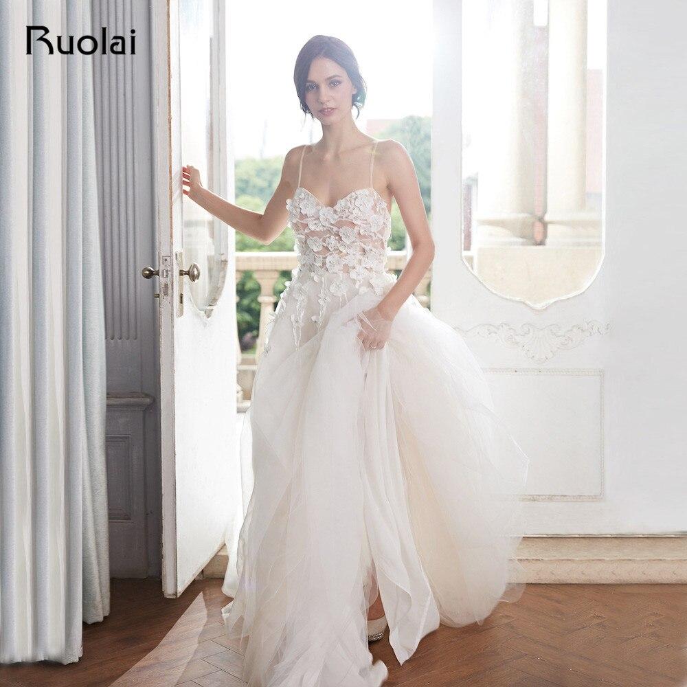 Boho robes de mariage 2019 A-ligne Sweetheart Plage Robe de mariée Floral Perlé Lumière Champagne Robe de mariée Robe de Mariee RW16