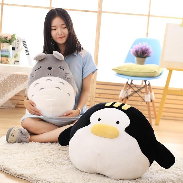 1 unid Kawaii Animales de Dibujos Animados Juguetes de Peluche de Felpa Suave de Algodón Pingüino y Totoro Almohadas de Alta Calidad Kids Muñecas Animal Lindo juguete