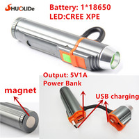 MINI portable USB rechargeable Multifunction LED Flashlight Work Light penlight torch 18650 battery hiking Free shipping