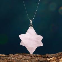 Natural Rose Quartz crystal Stone Merkaba Pendant Necklace Healing natural stones and minerals