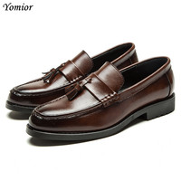 Yomior Handmade Vintage Luxury Brand Wedding Party Dress Dance Exclusive Oxfords Soft Leather Fashion Tassel Mens Derby Shoes