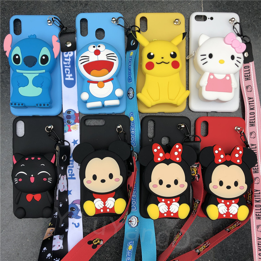 Cute Cartoon Kitty Stitch Minnie Zipper Wallet Phone <font><b>Case</b></font> for <font><b>OnePlus</b></font> <font><b>6</b></font> 6T 7 7 Pro Soft Silicone Bag Cover One Plus <font><b>6</b></font> 6t 7 Pro image
