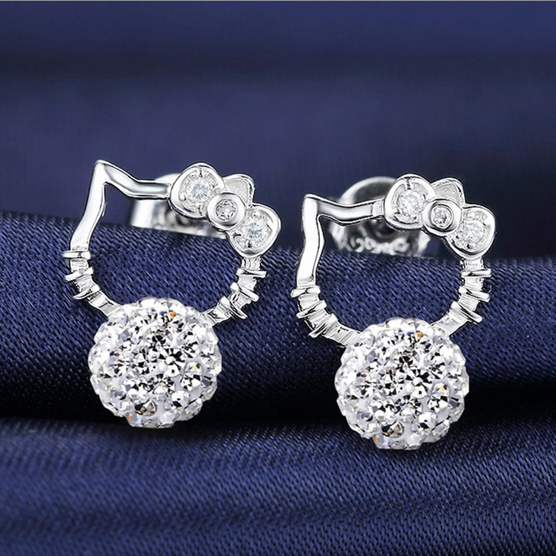 Silver Plated Plated AAA+ CZ Zircon Crystal Hello Kitty Cat Ear Stud Earrings Ear Ring Pendant Fashion Jewelry Wholesale E23 ...