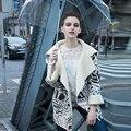 Женщины Замши Faux Кожаная Куртка 2016 Осень Зима Новый Урожай Отпечатано Шерсть Лайнер Отложным Воротником Негабаритных Пальто 1342