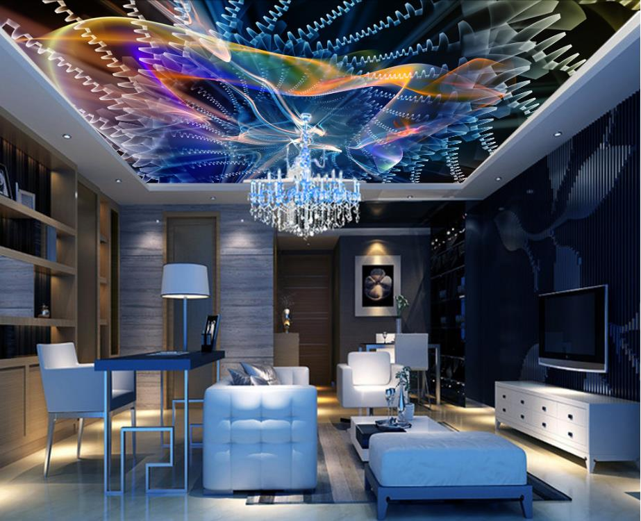 Modern Dynamic Radiance Living Room Kitchen Ceiling Mural Wallpaper Nonwovens 3d Ceiling Wall papers Home Decor customized 3d ceiling wallpaper mural blue sky and white clouds bedroom 3d ceiling living room wall papers home decor 3d modern