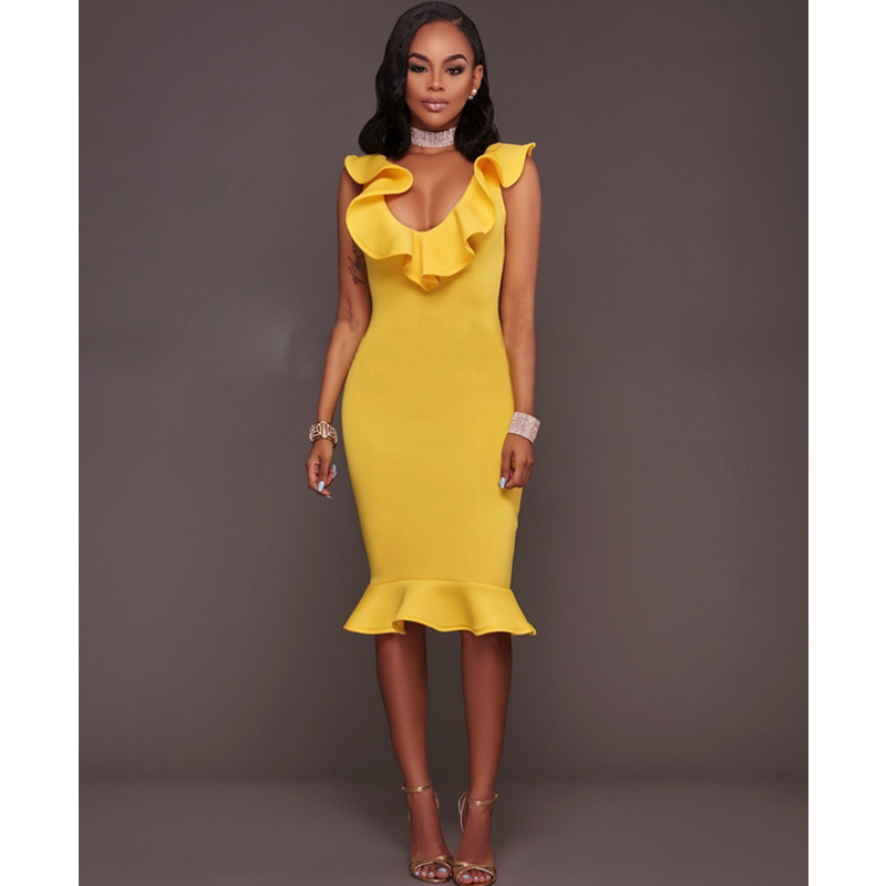 2017 Fashion Women Sexy Ruffles Dress Deep V-neck Slim Sleeveless Bodycon Dress Summer Party Yellow Casual Elegant Dresses 7