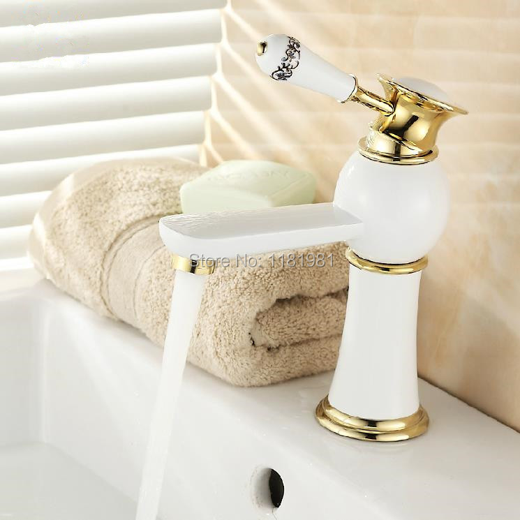 High quality fashion design bathroom basin mixer faucet brass material white water tap W0908High quality fashion design bathroom basin mixer faucet brass material white water tap W0908