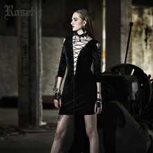 Rosetic Gothic Dress Lace-Up Black Hollow Out Sexy Autumn Women Dress Fashion Wild Street 2 Sides Wear Straight Mod Goth Dresses