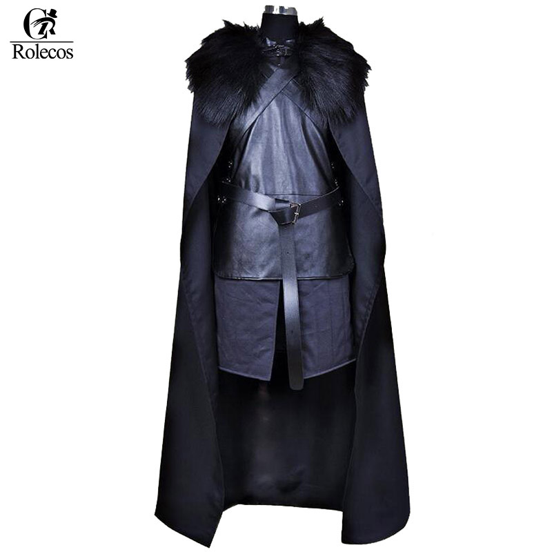 Rolecos Marque Américain TV Série Game of Thrones Cosplay Costume Jon Neige Chevalier Cosplay Jeu de Rôle Costume Halloween