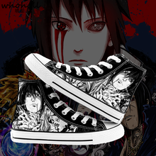 WHOHOLL Naruto Sasuke Printed Mens High-top Canvas Shoes Breathable Casual Lace-up Vulcanized Men High Top Sneakers