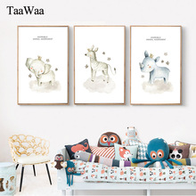 Cute Cartoon Animals Poster Print Unicorn Elephant Deer Nordic Art Painting Decorative Wall Picture for Kids Bed Room Home Decor