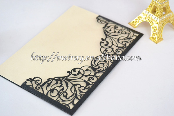 Aliexpress Buy Wholesale blank laser cut luxurious wedding – Blank Pocket Wedding Invitations