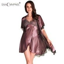 Lisacmvpnel 2016 Новая Мода 2 шт. кружева халат + ночную рубашку из искусственного шелка женщины пижамы сексуальные кружева халат наборы элегантных женщин кардиганы