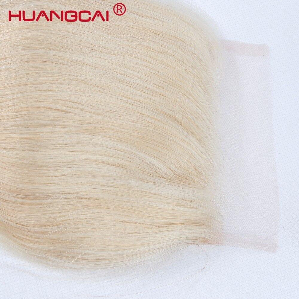 Huangcai бразильский 613 Синтетическое закрытие шнурка волос с ребенком волос 4x4 отбеленные узел один Комплект светлые прямые Человеческие воло...