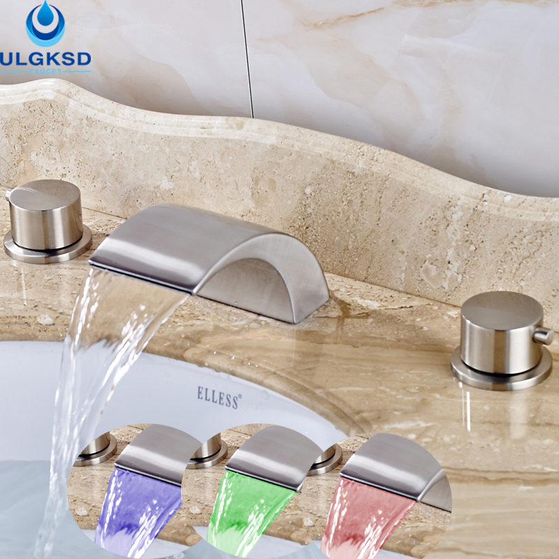 Ulgksd LED Coloring Change Brushed Nickle Basin Sink Faucet Waterfall Bridge Shape With Mixter Water Taps Bathroom Faucet