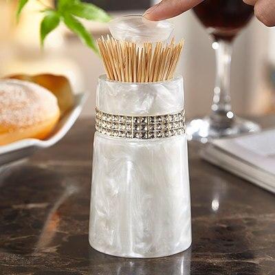 Европейская мода креативная мраморная текстура зубочистка коробка ручной давление коробка для хранения зубочисток настольная пепельница круглый ватный тампон коробка - Цвет: C