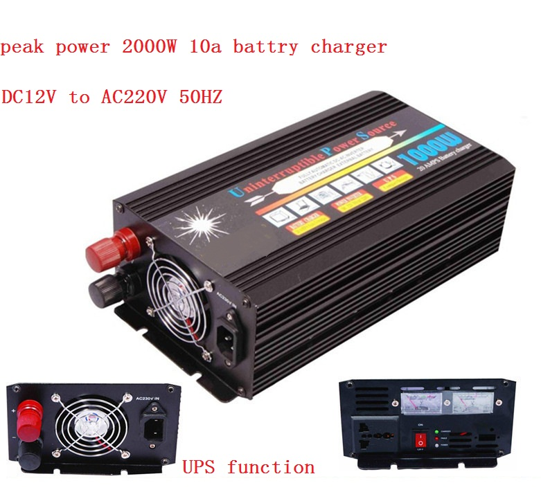 Free shipping,modified wave 1000W DC 12V to AC 220v Home Power Inverter With Charger & UPS and Fast Charge