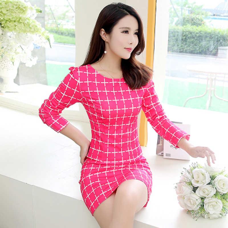 SexeMara/клетчатое сексуальное Повседневное платье с длинными рукавами для женщин, с круглым вырезом, черно-белое Летнее мини-платье, сексуальное, 2019, большие размеры, XXL, Vestidos