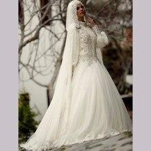 Muslim Wedding Dress Hijab High Neck Long Sleeve hochzeitskleid Lace Applique Crystal Beading 2017 Arab Bride Bridal Gown