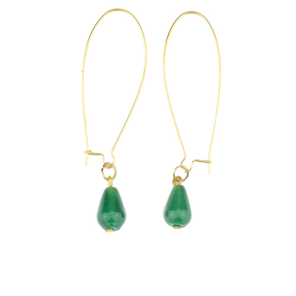 50Pair Green Stone Earring Wholesale Gold Silver Water Drop Chalcedony Stone Earring For Women