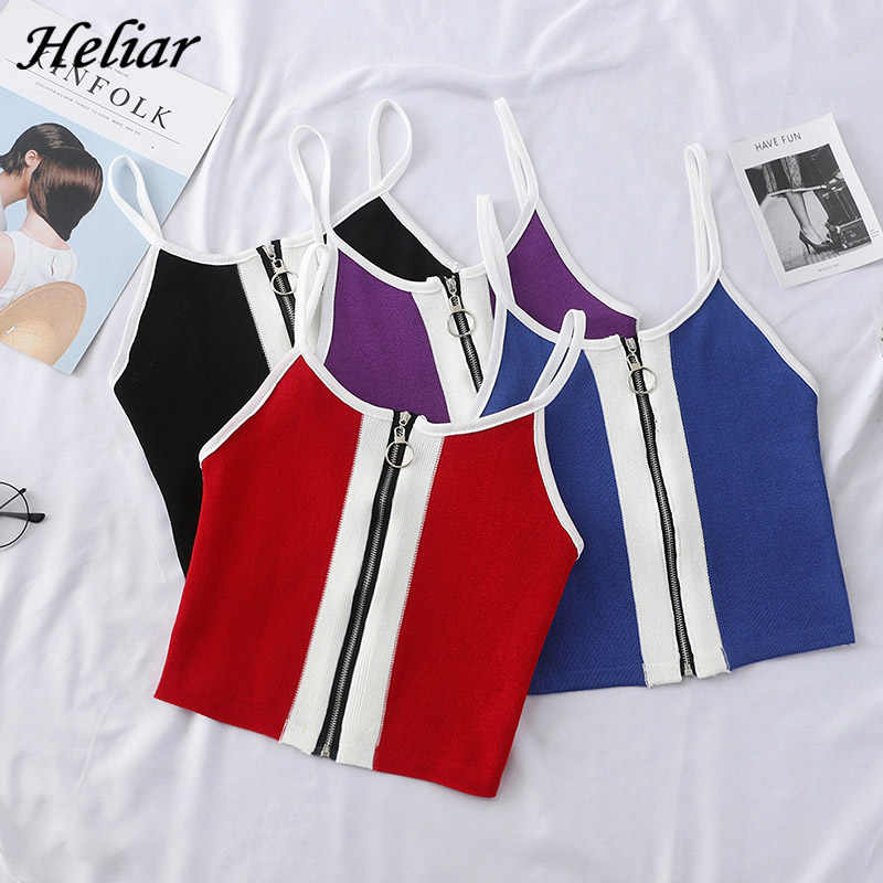 HELIAR 2019 Summer Women Tank Tops Club Sexy Knitting Crop Tops Cotton Camisole Ladies Zipper Camisole Spaghetti Tank Top Women