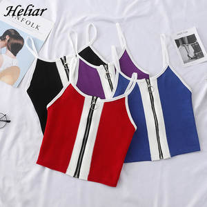 HELIAR 2020 Summer Women Tank Tops Club Sexy Knitting Crop Tops Cotton Camisole Ladies Zipper Camisole Spaghetti Tank Top Women