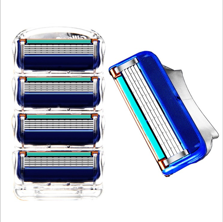 4pcs/lot Professional Shaving 5 Layers Razor Blades Compatible For Gillettee Fusione For Men Face Care