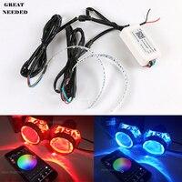 Phone APP Control Car 12V RGB Lens Devil Eyes Auto LED Colorful Demon Eye Headlight Lens Decoration Multifunction LED Rings