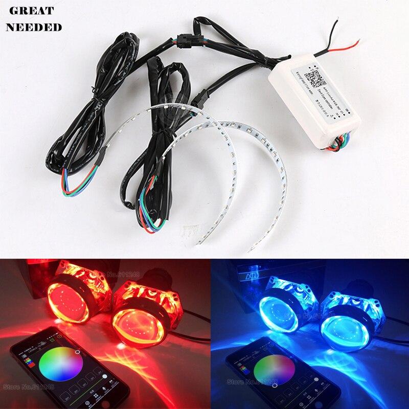 Téléphone APP contrôle voiture 12 V RGB lentille diable yeux Auto LED coloré démon oeil phare lentille décoration multifonction LED anneaux