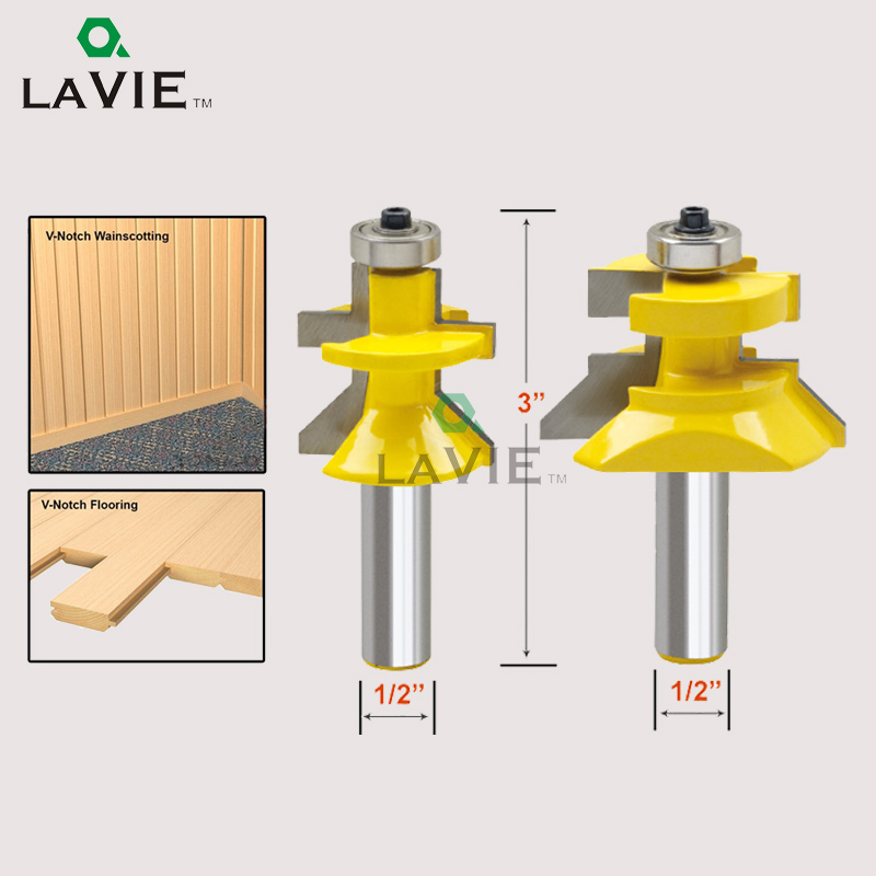 LA VIE 2pcs Router Bit 1/2 Milling Cutter Frame Tenon Knife Woodworking Engraving Machine Wood Milling Tool set MC03004 high grade carbide alloy 1 2 shank 2 1 4 dia bottom cleaning router bit woodworking milling cutter for mdf wood 55mm mayitr