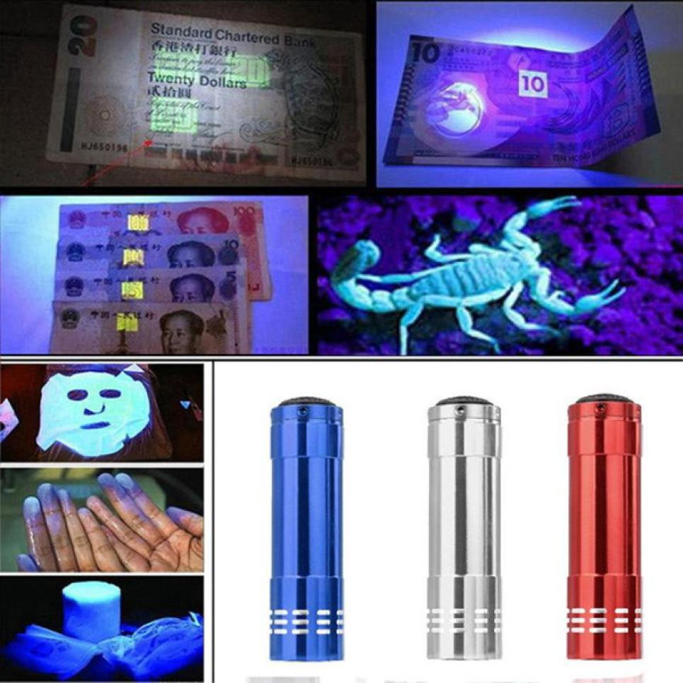 New Mini Aluminum UV Ultra Violet 9 LED Flashlight Blacklight Torch Light Lamp Sterilization detector Portable durable 21
