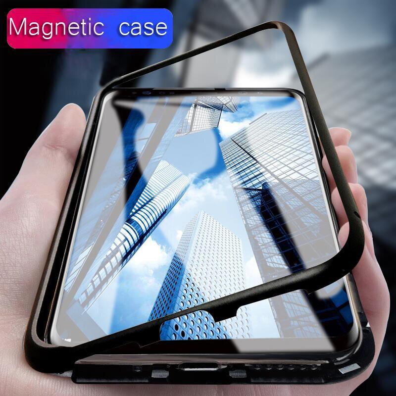 Magnete Cassa del respingente del Metallo per Samsung Galaxy note 8 Caso di Adsorbimento Magnetico per Samsung Galaxy S8 S9 plus Vetro Temperato casi