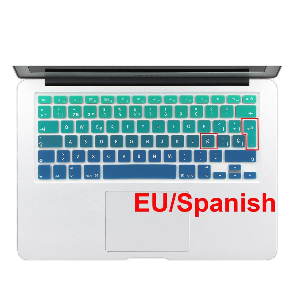 Rainbow Gradient Euro İspan Silikon Klaviaturası MacBook Air Pro - Noutbuklar üçün aksesuarlar - Fotoqrafiya 2