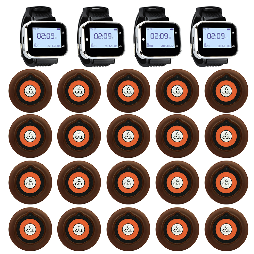 JINGLE BELLS Wireless Restaurant Guest Calling System 20 Calling Buttons 4 Watch Receiver for cafe bar